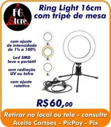 Ring Light 16cm com tripé de mesa