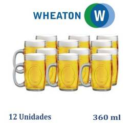Kit 12 Canecas de Chopp Cerveja Fritz 300ml em Vidro Wheaton Brasil