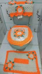 Conjunto para banheiro de barbante