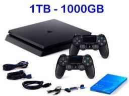 Playstation slim 4 1tb + 2 controles + hub de carregamento + 6 jogos
