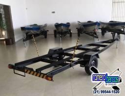 Carretas Rodoviárias para barcos de 5 e 6 mt - Simples e galvanizada
