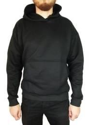 Moletom Canguru Masculino Básico Quente Confortável de Qualidade Preto ou Cinza