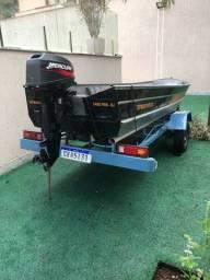 Vendo lindo barco em alumínio 5 metros, motor mercury 15 hp  carretinha rodoviária.
