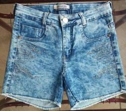 Short Jeans Feminino Cintura Alta Com Lycra + Cinto de Brinde!