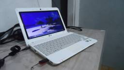 notebook pequeno lg intel branco 2gb hd 320gb wifi web  440 aceito note ruim