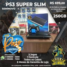 Mês dos pais é na Anubis Games: PS3 super slim com 3 jogos a pronta entrega!!