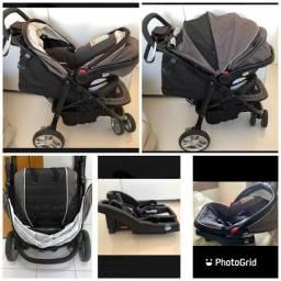 Carrinho de bebê graco com suporte e cadeira de carro completo