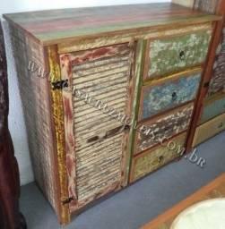 Comoda sapateira em madeira de demolição , portas ventiladas