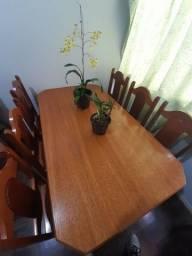 Mesa com 6 cadeiras madeira cerejeira