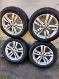 Roda original  15 com pneu meia vida do polo 1.6 msi