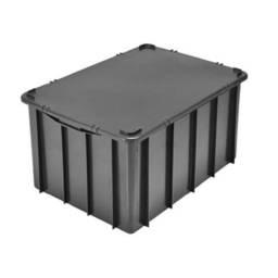 Caixa plástica organizadora preta usada  61 litros