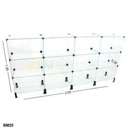 Balcao  de vidro - 2,00 x 1,00 x 0,30
