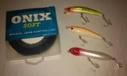 Iscas artificiais para pesca esportiva Nelson Nakamura + linha Onix soft