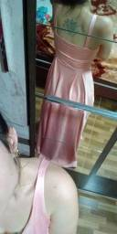 Vestido longo de festa rose