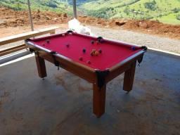 Mesa Tentação de Bilhar | Mesa Imbuia | Tecido Vermelho | Modelo: GPUN5158
