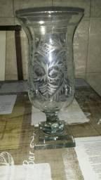 Castiçal antigo em cristal lapidado à mão