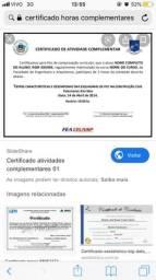 Vendo certificado horas complementares