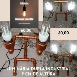 Luminárias artesanais estilo industrial