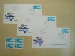 Conjunto Quadra Mint Selos e três Envelopes 1ª dia Circulação da Varig de 1977