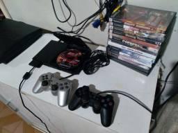 playstation 2 slim 2 controles analogico dual chock 15 jogos em dvd e coletania