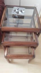 Mesas de Mogno maciço - 3Tam- Tampa de vidro removivel -*Preço Negociável