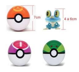 Kit Com 3 Pokebolas Pokémon + 3 Miniaturas 4 A 6cm + Brinde