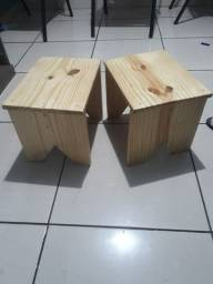 Kit 2 banquinhos rustico madeira pinus 32 cm altura