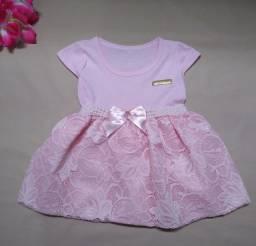 Vestido bebê/bebe luxo cor rosa para festa mesversario e ensaio fotográfico