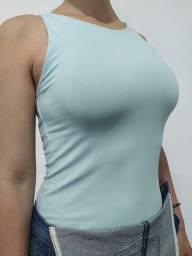 Camiseta regata azul bebê