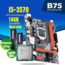 Kit i5 3570 3.4 Ghz, Placa Mãe B75 com USB 3.0 e Nvme, Cooler Rgb  e 8 Gb memoria