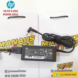 Título do anúncio: Fonte Notebook HP 19.5V 3.33A Ponta Azul Novo c/ Garantia