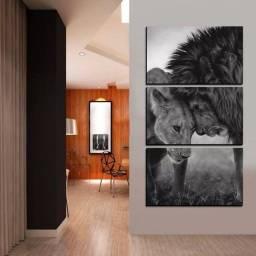 Quadro decorativo casal de Leão