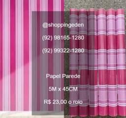 Chegou papel parede rosa com listras lindo