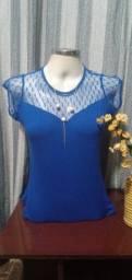 Título do anúncio: Blusa em Malha e Renda Azul - M