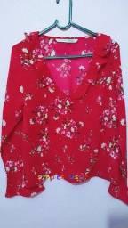 Blusa vermelha estampada