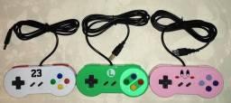 Controle Multicolorido Super Nintendo Usb Pc Raspberry Pi