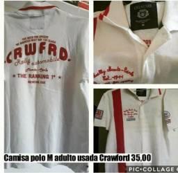 Camisa crawford adulto M pólo branca 9c6831e4e4a06