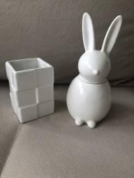 Porta escova e porta algodão em cerâmica