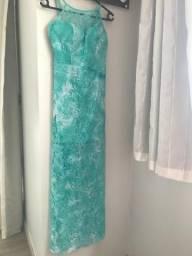 Lindo vestido, tam P, em renda, cor Tiffany