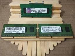 Memórias p notebook 2x(Smart 2gb) + 1(Kingston), todas de 2gb 1333 MHz