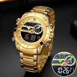 Relógio Masculino Naviforce 9163 Dourado Luxo Esporte Digital e Analógico Original.