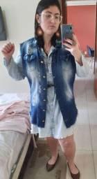 Colete Jeans Destroyed longo