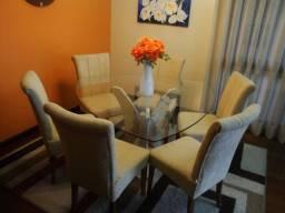 Conjunto Sala de Jantar - Mesa Tampo de Vidro 6 Cadeiras