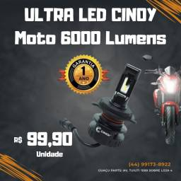 Kit Led Moto Plus H4 Foco Top Longo 12 Leds 6000lm Ef Xenon