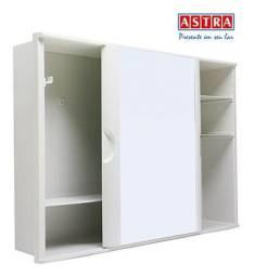 Armario Plastico Banheiro Sobrepor Embutir Branco Astra