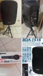 Caixa de som Ativa + pedestal + microfone