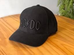 Boné AC/DC 6 gomos com estampa bordada preto
