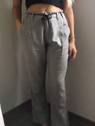 calça social cinza -Feminino