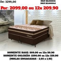 Conjunto Box Mola Ensacada Densidade Alta- Cama Box Casal 1,38- Descontasso em MS