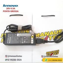 Fonte Notebook Lenovo 20V 4.5A ThinkPad Ponta Grossa Novo c/ Garantia